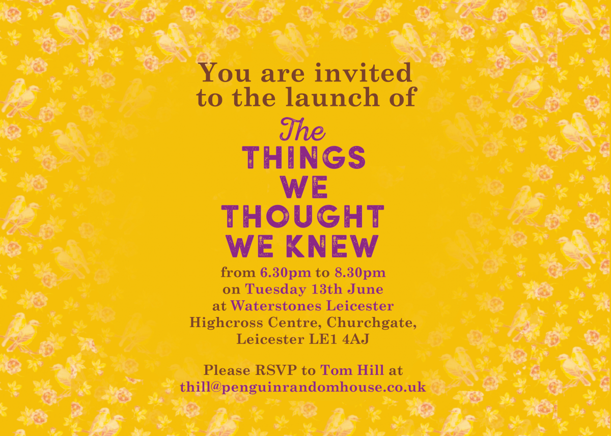 If you'd like to come along, please e-mail Mahsuda's publisher, Penguin  Random House, details below